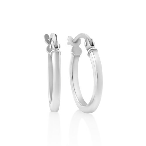 Square Tube Hoops in 10ct White Gold