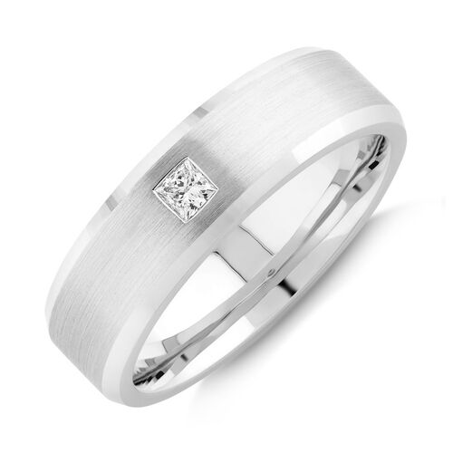 Men's Ring with 0.15 Carat TW of Diamonds in 10ct White Gold