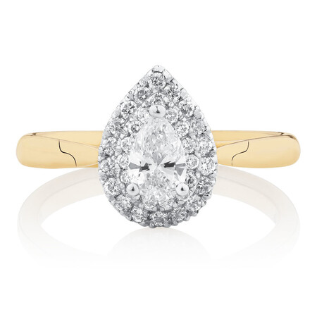 Engagement Ring with 1/2 Carat TW of Diamonds in 14ct Yellow & White Gold