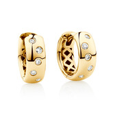 Hammer Set Hoop Earrings with Diamonds in 10ct Yellow Gold