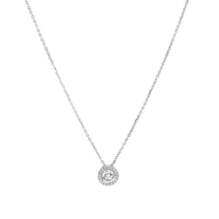 Sir Michael Hill Designer Halo Pendant with Chain with 0.45 Carat TW of Diamonds in 18ct White Gold