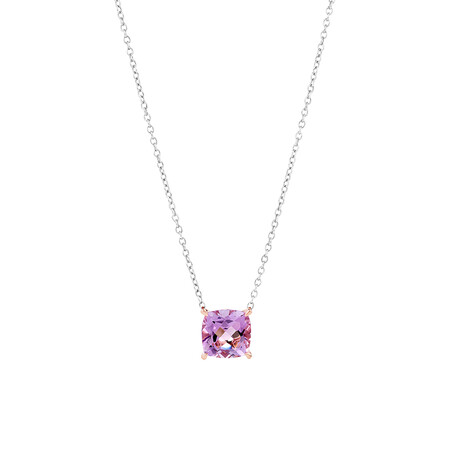 Rose Amethyst Necklace in Sterling Silver & 10ct Rose Gold