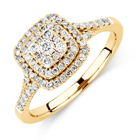 Engagement Ring with 1/2 Carat TW of Diamonds in 10ct Yellow Gold