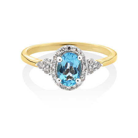 Ring with Diamonds & Natural Topaz in 10ct Yellow Gold