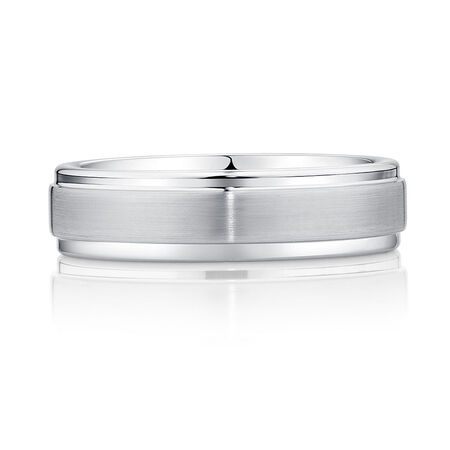 6mm Men's Ring in White Tungsten