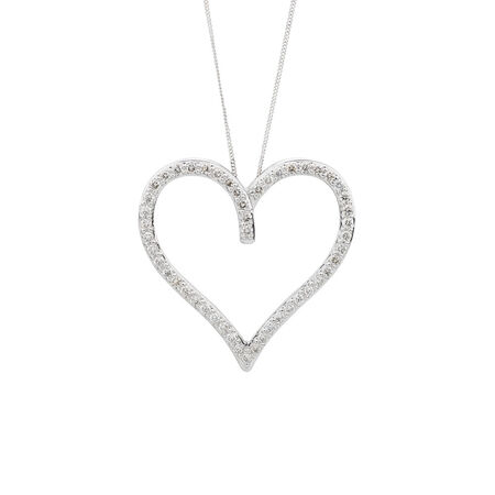Heart Pendant with 1 Carat TW of Diamonds in 10ct White Gold