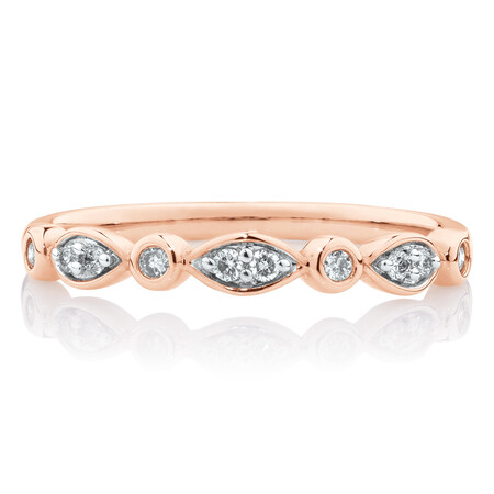 Marquise Stacker Ring with 0.11 Carat TW of Diamonds in 10ct Rose Gold