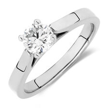 Certified Solitaire Engagement Ring with a 0.69 Carat Diamond in 14ct White Gold