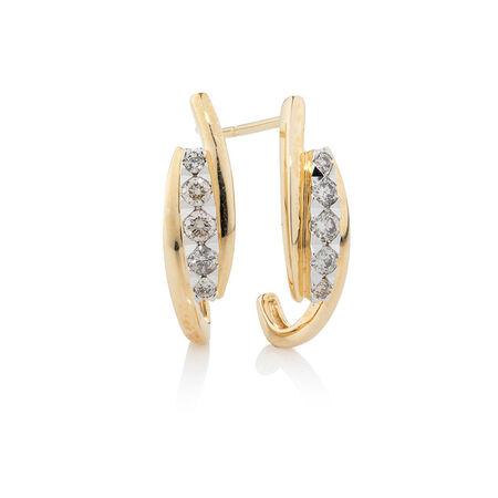 Hoop Earrings with 0.34 Carat TW of Diamonds in 10ct Yellow Gold