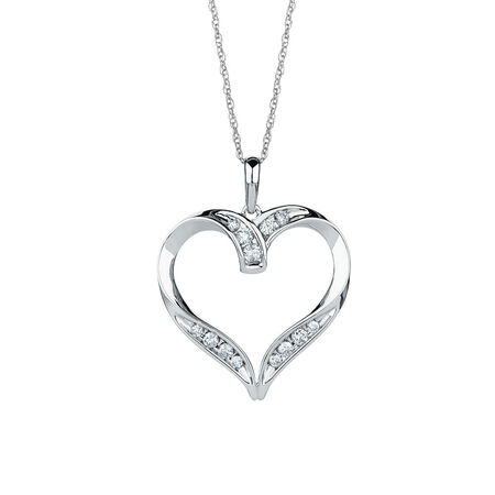 Heart Pendant with 1/4 Carat TW of Diamonds in 10ct White Gold