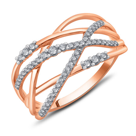 Crossover Ring with 0.25 Carat TW of Diamonds in 10ct Rose Gold