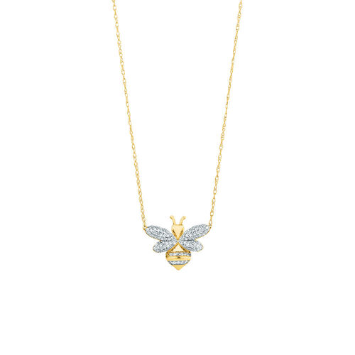 Bee pendant with 0.16 Carat TW Diamonds in 10ct Yellow Gold