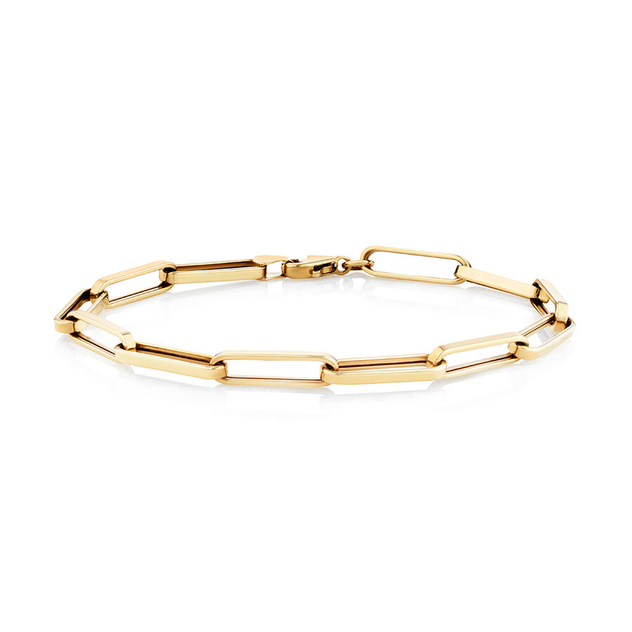 Paperclip Bracelet In 10ct Yellow Gold