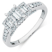 Three Stone Engagement Ring with a 1/2 Carat TW of Diamonds in 10ct White Gold