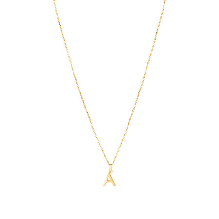Initial Pendant with Chain in 10kt Yellow Gold