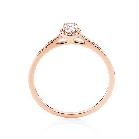 Halo Ring with Diamonds & Morganite in 10ct Rose Gold