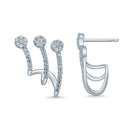 Multi Hoop Earrings with 0.33 Carat TW of Diamonds in 10ct White Gold