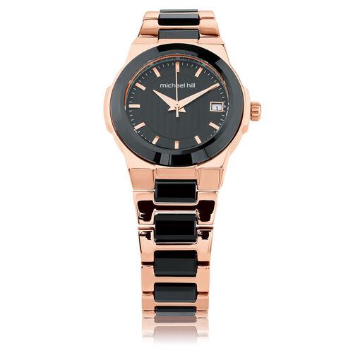 Ladies Watch in Black Ceramic & Rose Tone Stainless Steel