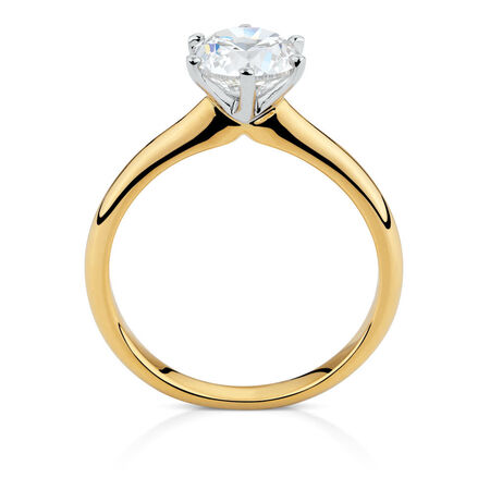 Certified Solitaire Engagement Ring with a 1 1/2 Carat TW Diamond in 18ct Yellow & White Gold