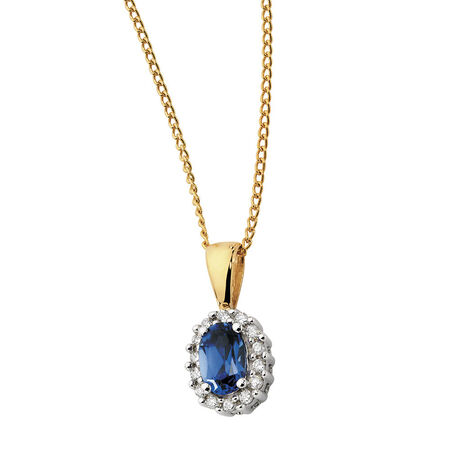Pendant with Created Sapphire & Diamonds in 10ct Yellow & White Gold