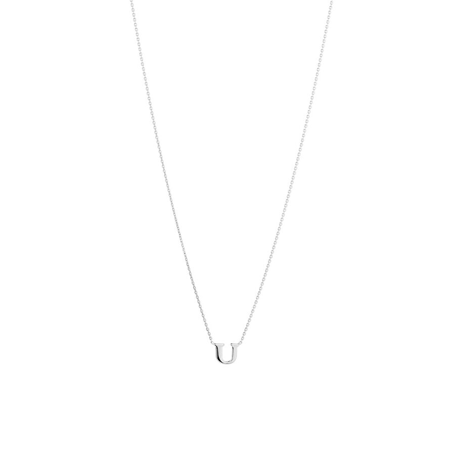 'U' Initial Necklace in Sterling Silver