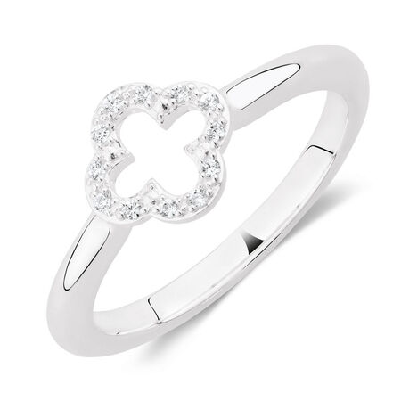 Cubic Zirconia & Sterling Silver Quatre Design Ring