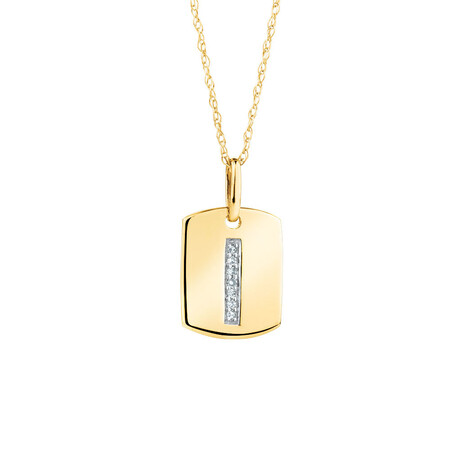 """I"" Initial Rectangular Pendant With Diamonds In 10ct Yellow Gold"