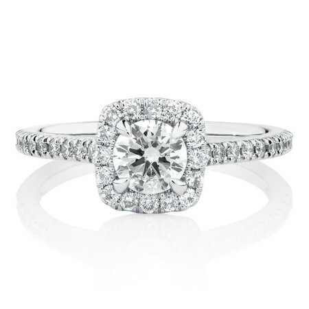 Engagement Ring With 0.95 Carat TW Of Diamonds In 14ct White Gold