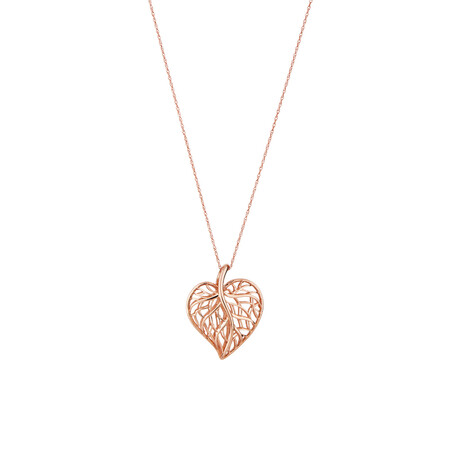 Heart Leaf Pendant in 10ct Rose Gold