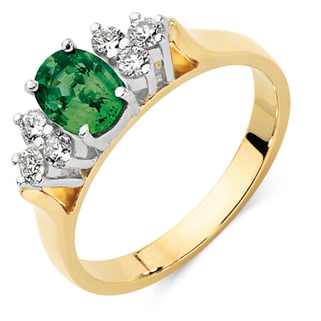 Ring with Green Sapphire & 0.26 Carat TW of Diamonds in 10ct Yellow & White Gold