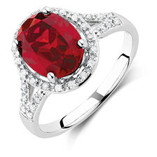 Ring with Created Ruby & 0.20 Carat TW of Diamonds in 10ct White Gold