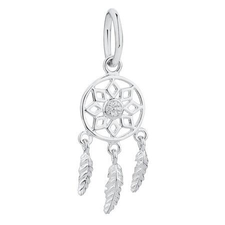 Dream Catcher Mini Pendant with Cubic Zirconia in Sterling Silver