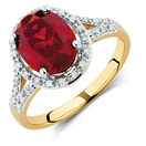 Ring with Created Ruby & 0.20 Carat TW of Diamonds in 10ct Yellow & White Gold