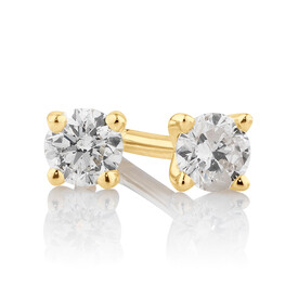 Stud Earrings with 0.15 Carat TW of Diamonds in 10ct Yellow Gold