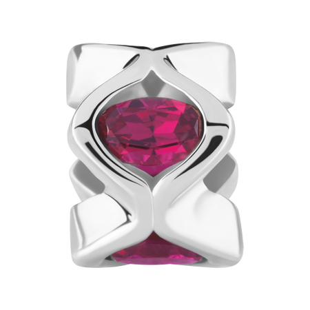 Sterling Silver & Created Ruby Charm