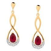 Drop Earrings with Created Ruby & Diamonds in 10ct Yellow & White Gold
