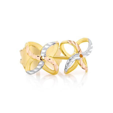 Petal Stud Earrings in 10ct Yellow, White & Rose Gold