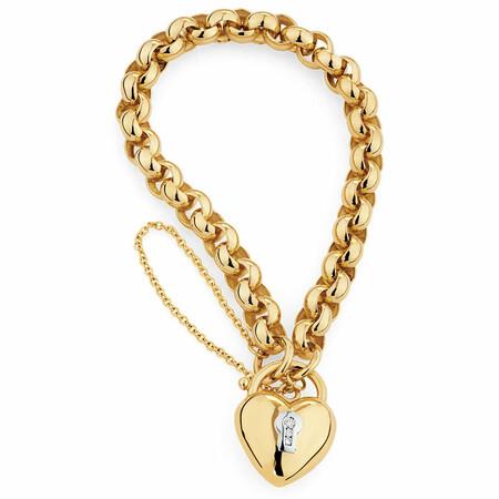Diamond Set Belcher Bracelet in 10ct Yellow Gold