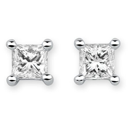 Stud Earrings with 0.70 Carat TW of Diamonds in 18ct White Gold