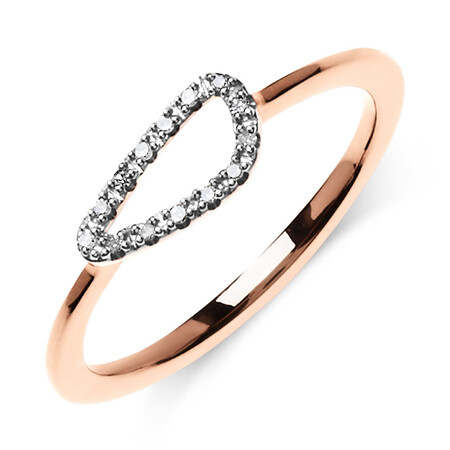 Organic Shape Ring with Diamond in 10ct Rose Gold