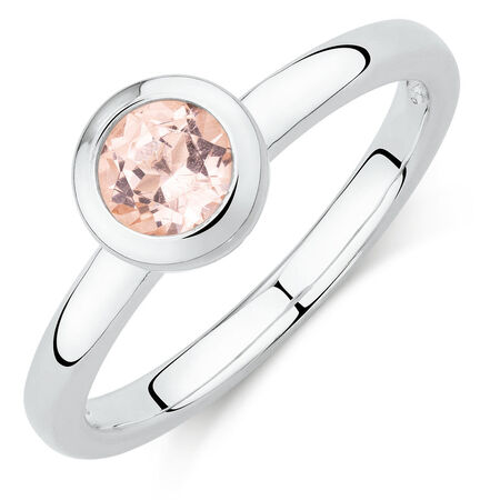 Round Ring with Blush Cubic Zirconia in Sterling Silver