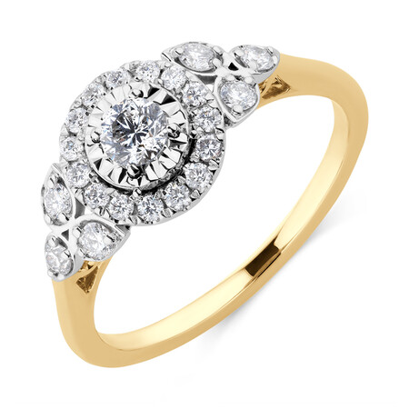 Evermore Engagement Ring with 0.50 Carat TW of Diamonds in 10ct Yellow & White Gold