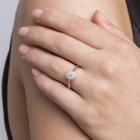 Southern Star Engagement Ring with 1/2 Carat TW of Diamonds in 14ct Rose & White Gold