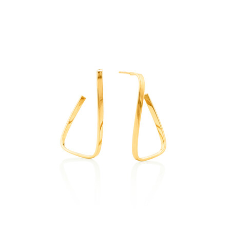 Twisted rectangle Stud Earrings in 10ct Yellow Gold