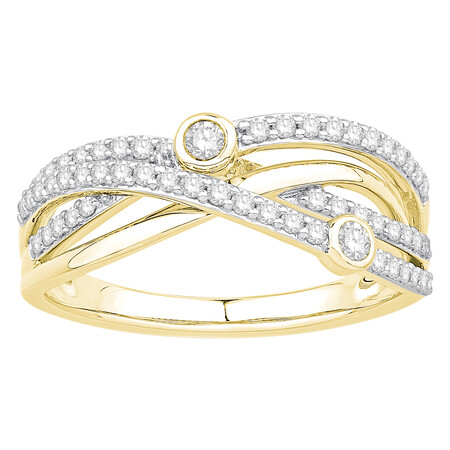 Twist Ring with 0.40 Carat TW of Diamonds in 10ct Yellow Gold