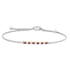 Adjustable Bracelet with Created Ruby & 0.15 Carat TW of Diamonds in 10ct Yellow Gold & Sterling Silver