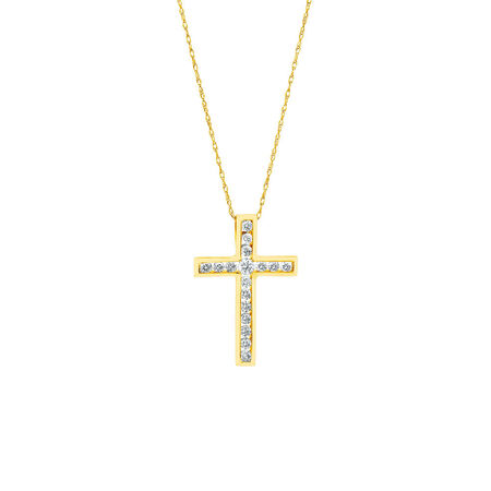 Cross Pendant in 10ct Yellow Gold With 1/2 Carat TW of Diamonds