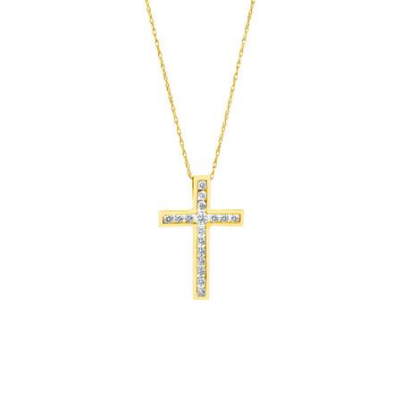 Cross Pendant in 10ct Yellow Gold With Diamonds