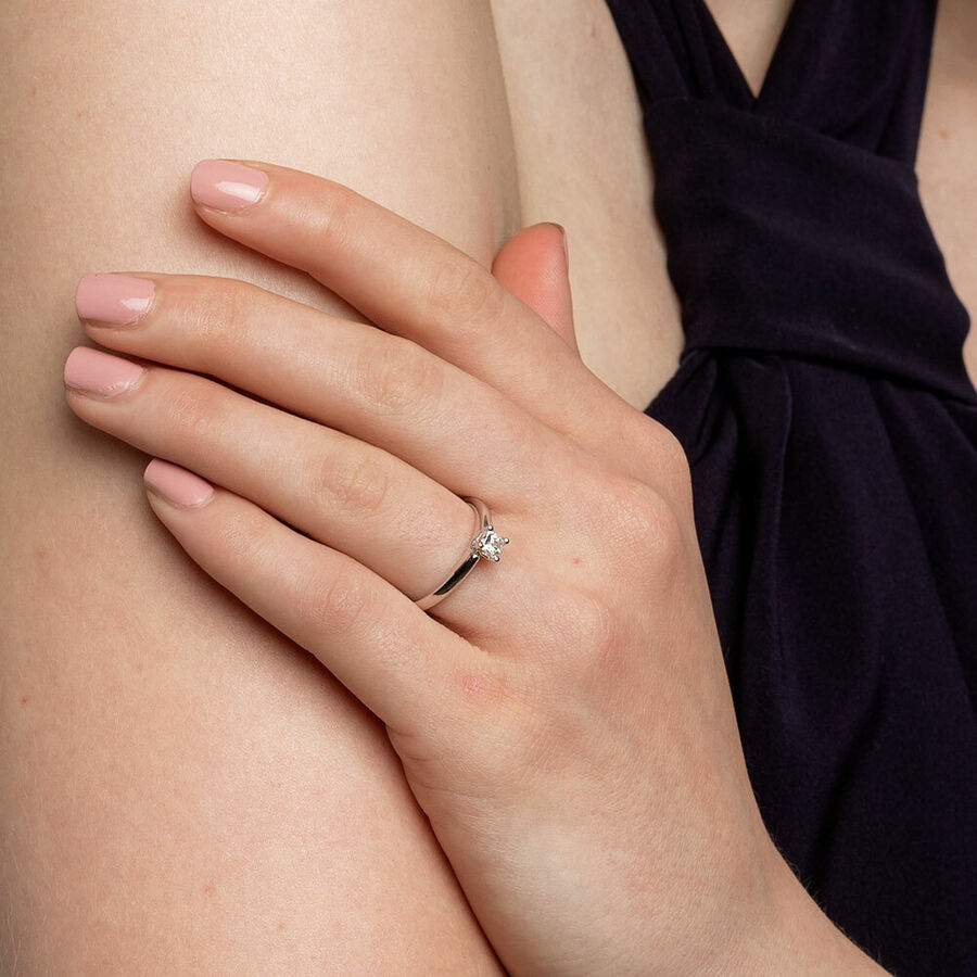 Whitefire Solitaire Engagement Ring with A 0.34 Carat TW Diamond in 18ct White & 22ct Yellow Gold