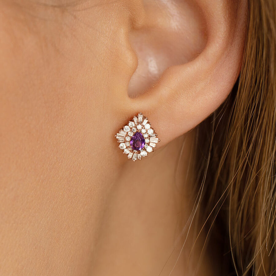 Ballerina Earrings with Amethyst & 0.50 Carat TW of Diamonds in 10ct Rose Gold